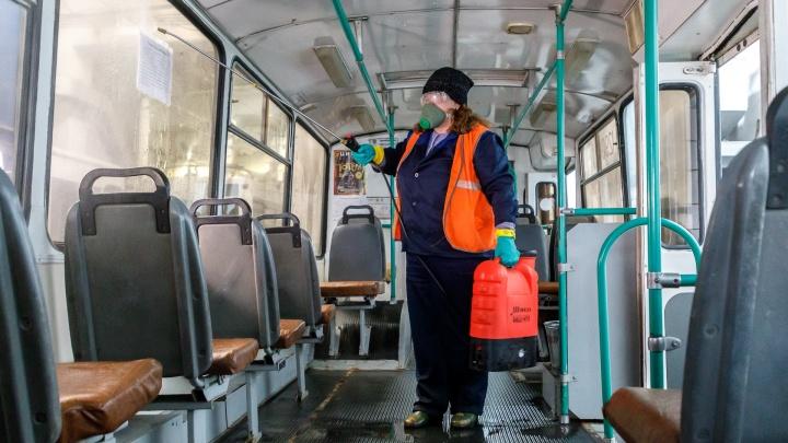 Общественный транспорт Волгограда начали обрабатывать по несколько раз на дню