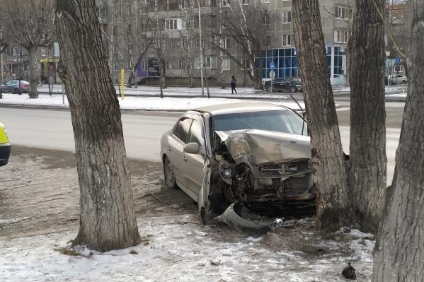Автомобиль остановило дерево