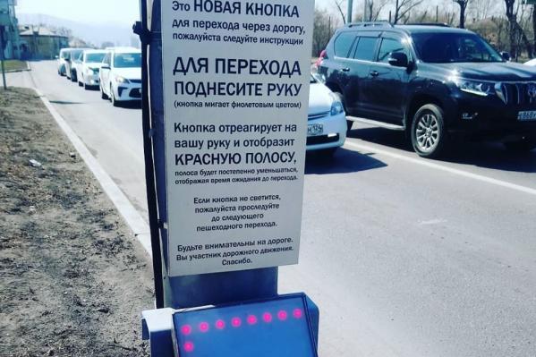 Чтобы перейти дорогу, достаточно просто поднести руку к кнопке
