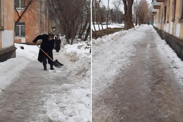 Тротуар на улице Лодыгина весь во льду