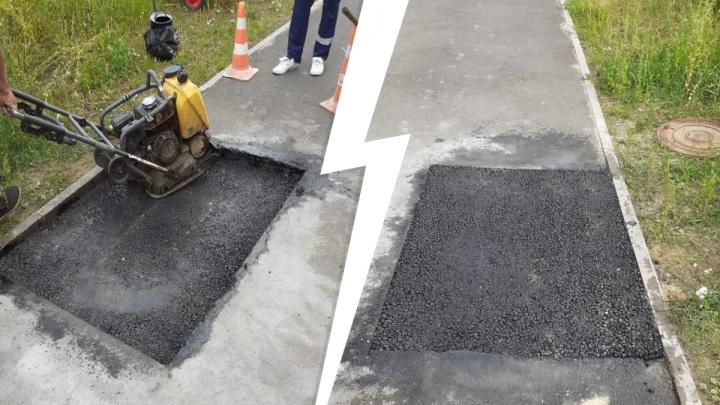 «Там снова будет ямка»: провал на новой дороге за 112 миллионов починили тяп-ляп