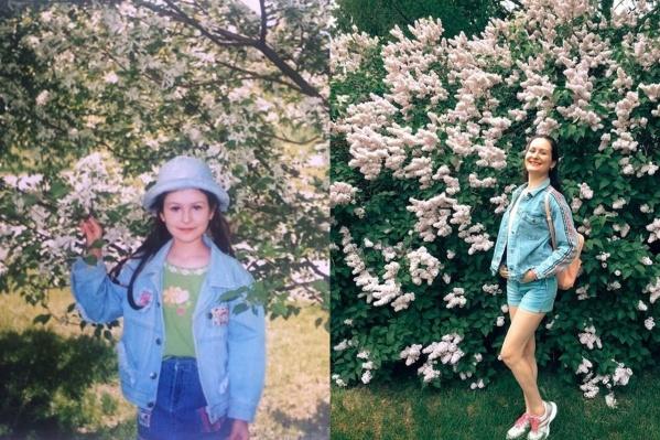 1996 год и сейчас. Такое фото прислала нам Кристина. Она с детства любит цветы!