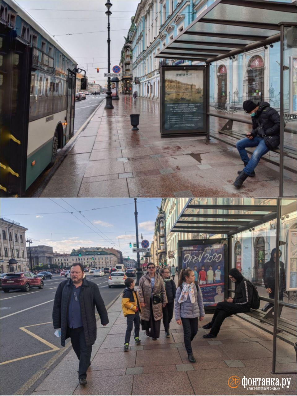 сверху: 6 апреля (+35 зараженных за сутки)&nbsp;<br>снизу: 10 октября (+500 зараженных за сутки)<br><br>автор фото Павел Каравашкин/«Фонтанка.ру»<br>