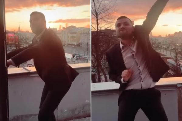 Ярославец отжёг как следует на балконе своего офиса