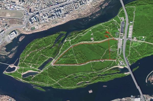 Красным обозначены новые тропинки по острову, сделанные в октябре