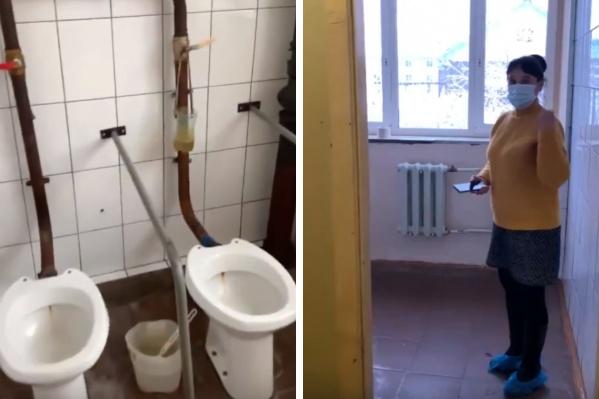 Медсестра Анжелика Седельник показала этот туалет председателю «Альянса врачей» Анастасии Васильевой