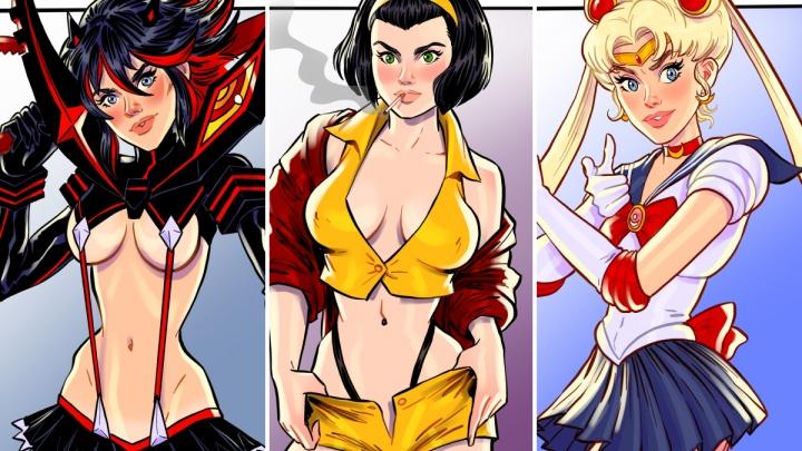 Художник из Ярославской области, переехавший в США, нарисовал героинь аниме в стиле пин-ап