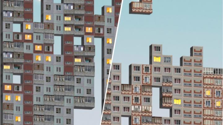 В России выпустили игру-тетрис с панельными домами. Там есть «панельки» из Новосибирска