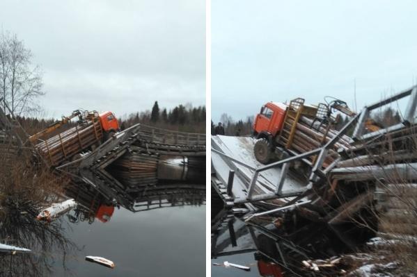 Мост собираются отремонтировать после того, как извлекут из обломков грузовик