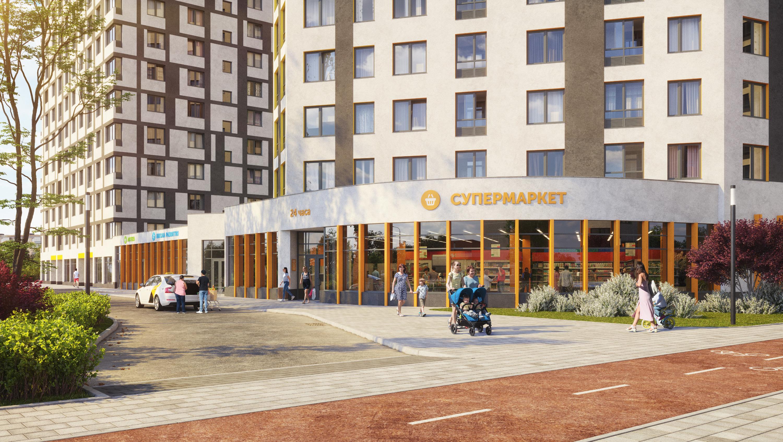 На первых этажах домов также запроектированы коммерческие площади для супермаркетов, аптек, салонов красоты и других необходимых объектов