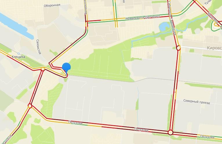 Движение сильно замедлено в Кировском районе