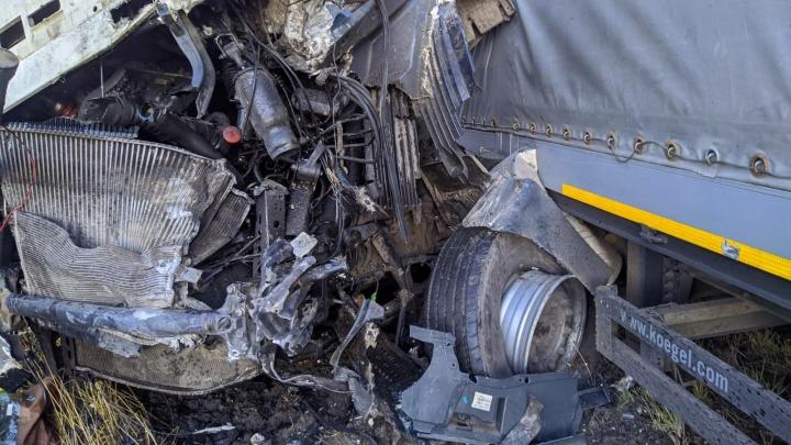 Водителя вырезали из кабины: под Самарой столкнулись два тягача