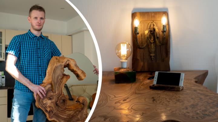 Космические столы и светильники-гитары: как архангельские мастера создают декор из дерева и смолы