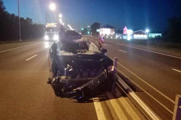 Легковушка столкнулась с лосем на трассе в Ростовском районе