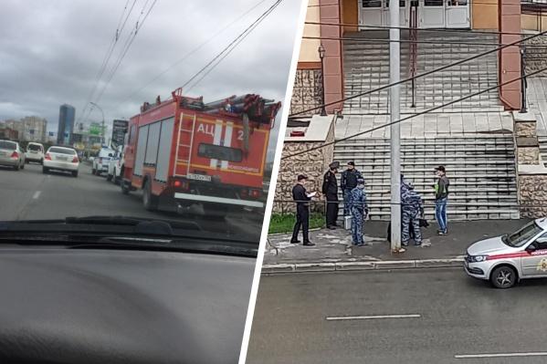 Сотрудников полиции и пожарные расчёты заметили у здания Железнодорожного суда и на Димитровском мосту