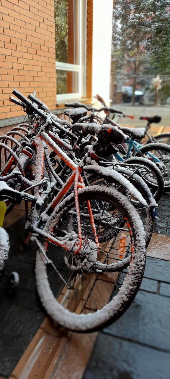 Читательница отправила нам заснеженные велосипеды