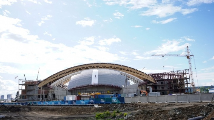 Строительство Ледового дворца «Кузбасс» показали на видео
