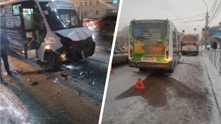 В центре Новосибирска столкнулись маршрутка и автобус — пострадала одна из пассажирок