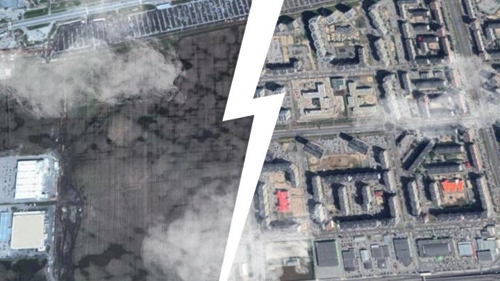На месте полей выросли многоэтажки и парковки: показываем на спутниковых снимках, как застраивалась Тюмень