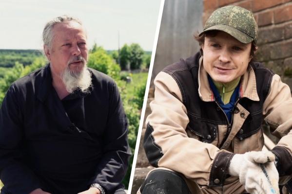 Герои фильмов. Слева — иеромонах Антипа, справа — дворник Егор Желтяков