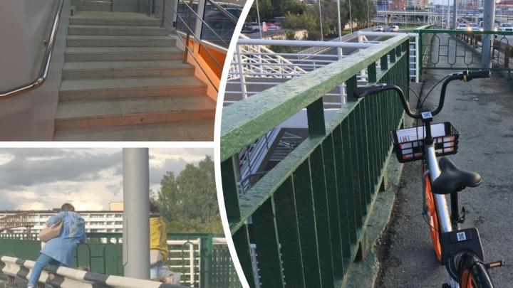 Неработающие лифты, бездомные собаки и штурм забора: как тюменцы переходят Транссиб по новой развязке