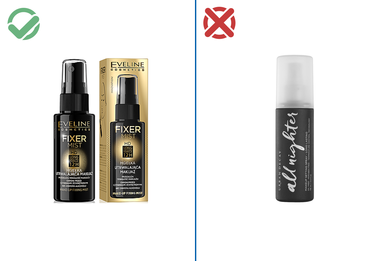 Eveline Cosmetics Make-Up Fixing Mist HD Long Lasting Formula — 366–400 рублей /Urban Decay All Nighter — 2590 рублей