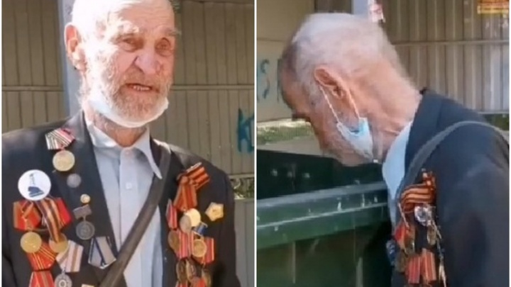 Тюменец снял на видео 92-летнего ветерана, копающегося в мусорном баке