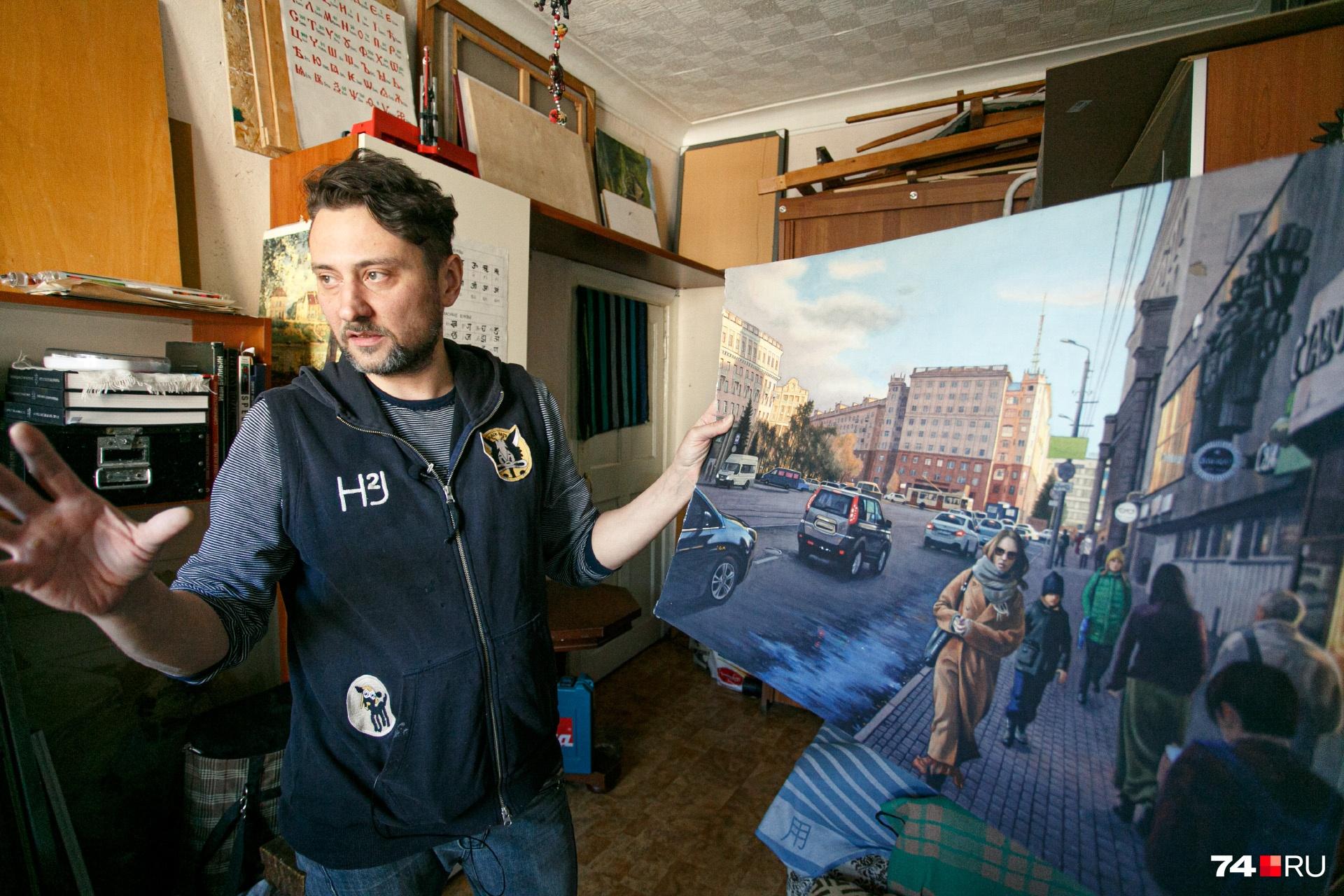 Художник вернулся в Челябинск и начал рисовать родной город около двух лет назад, когда у него обнаружили рак