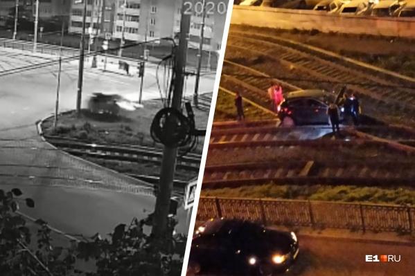 Полет иномарки попал в кадр камеры видеонаблюдения