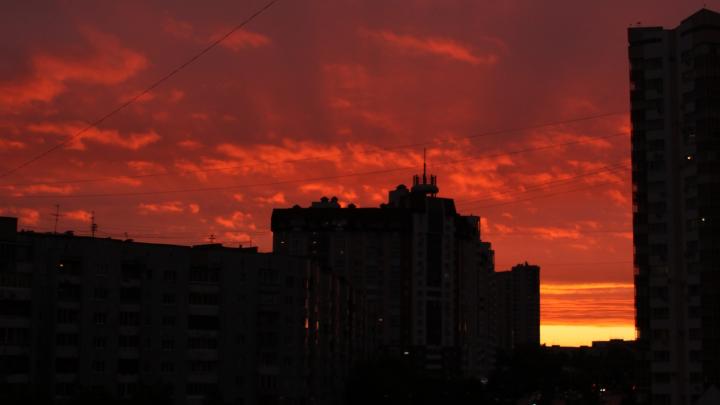 Кровавое зарево: 20 кадров яркого заката над Екатеринбургом