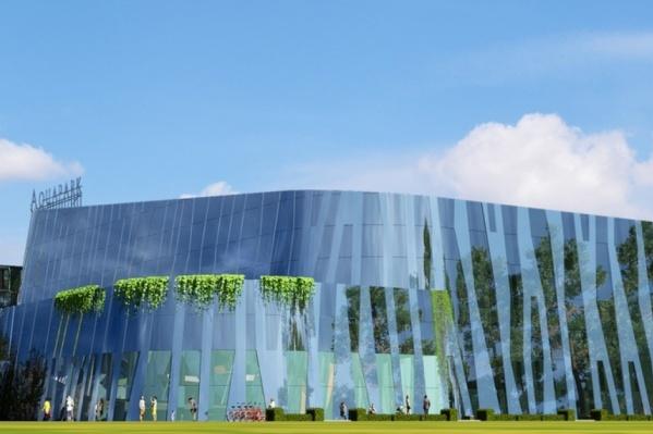 Фасад аквапарка будет зеркальным. Общая площадь объекта составит около 20 тысяч квадратных метров
