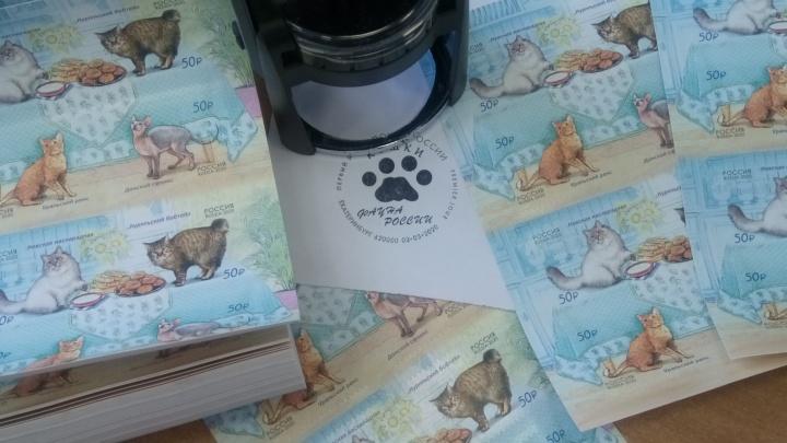 На Главпочтамт привезли 20 тысяч марок с экзотическими котами и зовут поставить на них кошачью лапку