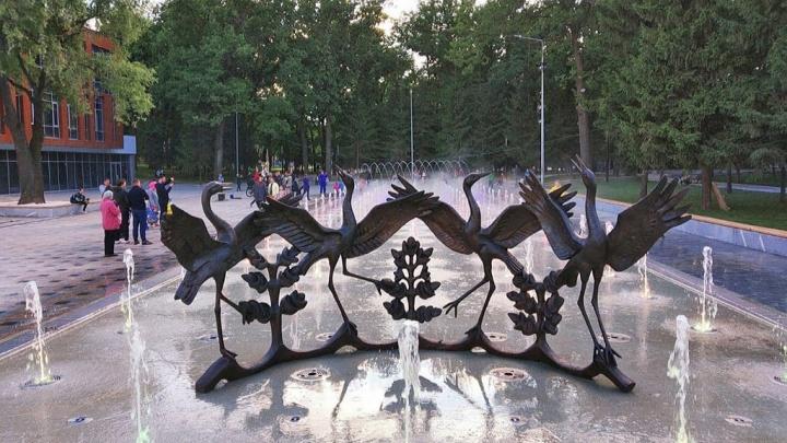 В Уфе открыли фонтан «Танцующие журавли». Он находился на реконструкции 11 лет