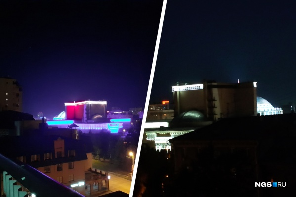 Слева на фото — новая подсветка НОВАТа, в которую было вложено 400 миллионов. Справа — снимок театра, сделанный читателем на прошлой неделе