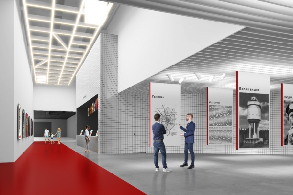 Дизайн выполнен в стиле конструктивизма и в бело-красных тонах
