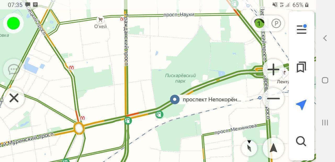 Трафик по данным на 7:35 5 июня.