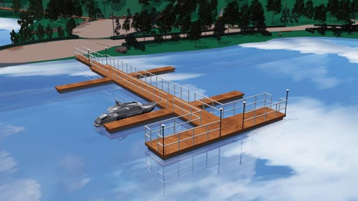 На острове Татышев началось строительство причала