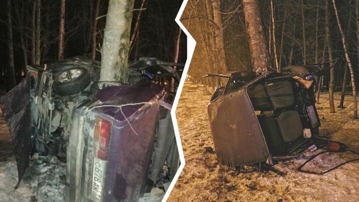 ВАЗ намотался на дерево: в ночном ДТП на проспекте Фрунзе чудом выжили двое парней