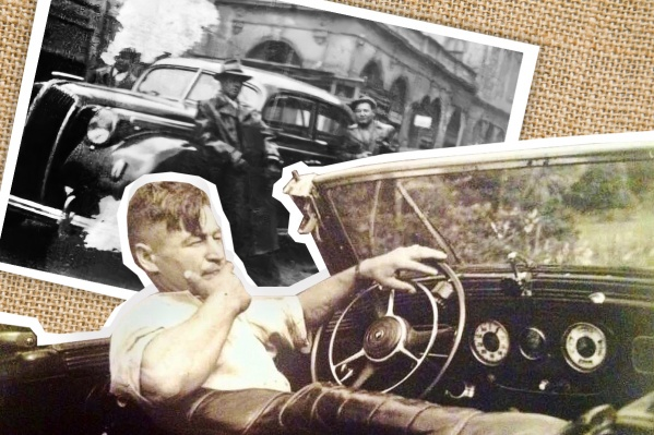 На фото Иван Игнатьевич — в длинном плаще на переднем плане. После войны он продолжил работать водителем