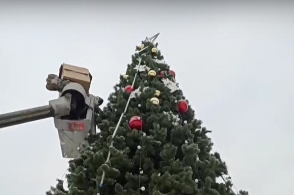 В парке завершают процесс украшения елки