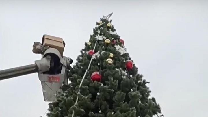 В Центральном парке начали украшать елку новогодними игрушками