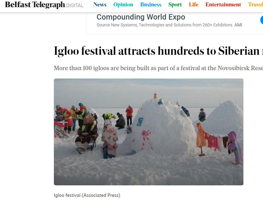 Переводим заголовок: «Фестиваль иглу привлек сотни к сибирскому водохранилищу»