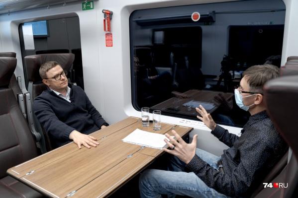 Журналист 74.RU Артём Краснов поговорил с губернатором Алексеем Текслером на прошлой неделе в скоростном поезде Челябинск — Магнитогорск