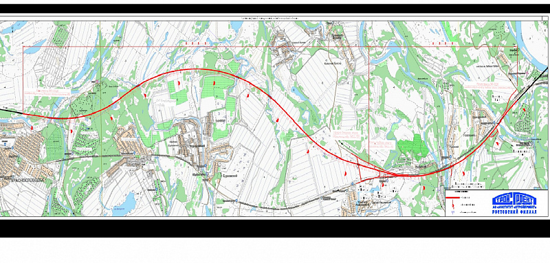 На карте видно, что дорога пройдёт по зелёным насаждениям, уничтожив их часть