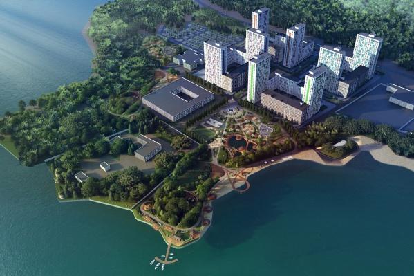 Парк площадью 22 500 кв. м и пляж на 10 600 кв. м входят в состав комплекса и станут продолжением привычных для горожан дворов
