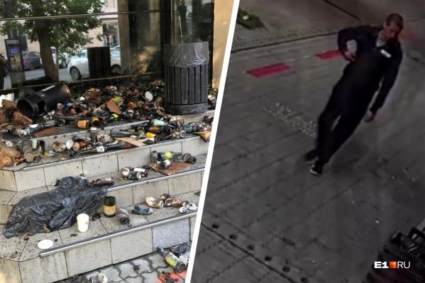 Слева — то, что сегодня утром увидели проходящие мимо бара екатеринбуржцы, справа — молодой человек, который устроил весь беспорядок