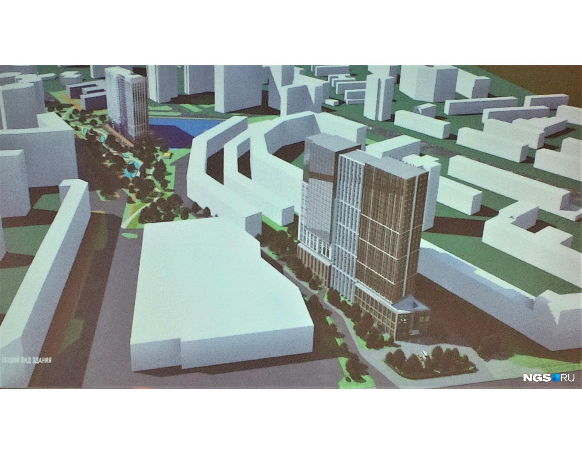 В концепции застройки участка возле «Ройял Парка» предлагают высотную гостиницу — за ее счет можно благоустроить сквер вдоль реки за зданием