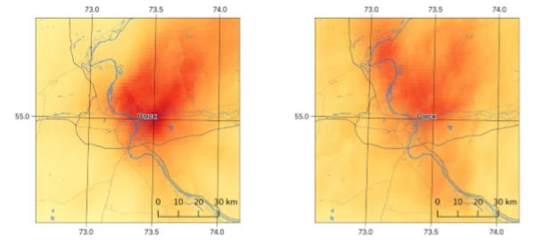 Поля концентраций диоксида азота в Омске в марте (слева) и апреле (справа) 2020 года