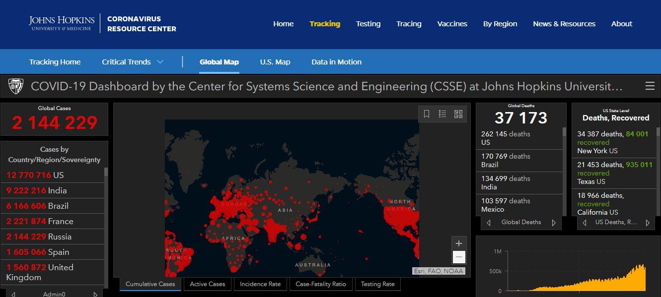 Скриншот с coronavirus.jhu.edu/map.html