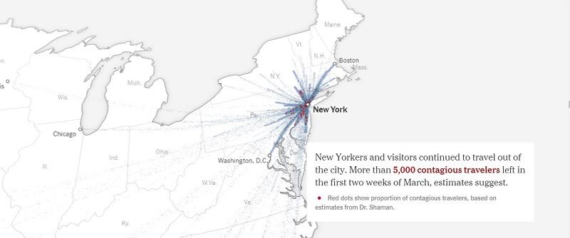 New York Times со ссылкой на данные университета Колумбии утверждает: если бы меры социального дистанцирования ввели в США на неделю раньше, в Нью-Йорке удалось бы избежать 22 тысяч смертей